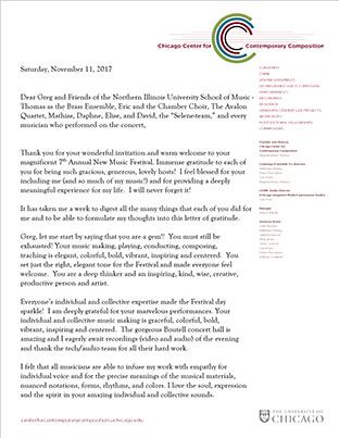 Augusta Read Thomas letter