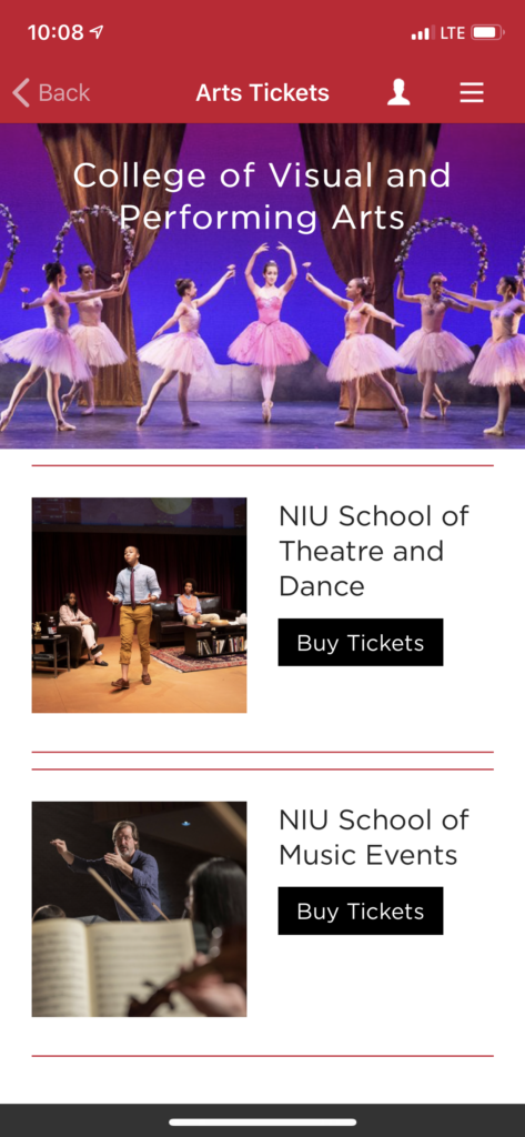 NIU App Ticket page