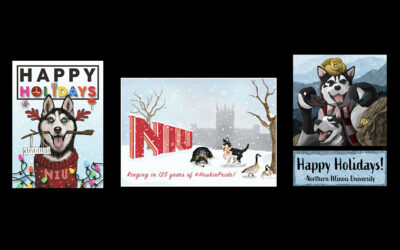 Winning 2019 holiday cards designed by Art and Design students