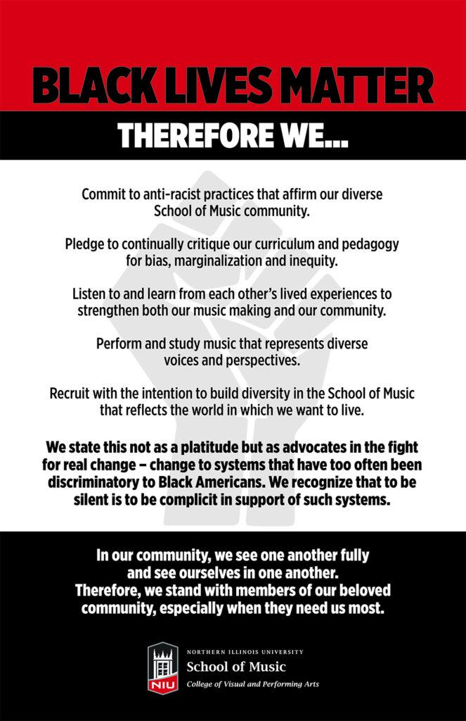 School of Music BLM pledge